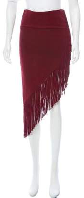 Intermix Suede Fringe Skirt