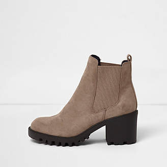 River Island Beige faux suede chunky boot