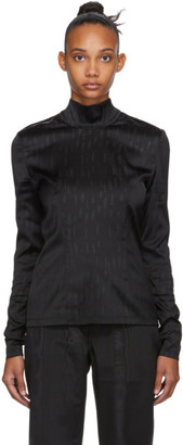 032c Black Satin Logo Long Sleeve T-Shirt