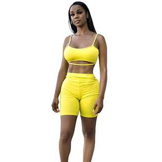 MEALIYA Women's Sleeveless Two Piece Outfits Bodycon Jumpsuits Short Sports