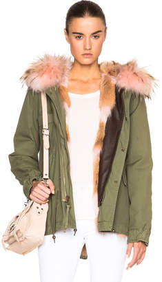 Mr & Mrs Italy Mini Army Parka Jacket With Coyote & Raccoon Fur