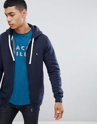 Jack Wills Pinebrook zip-through logo hoodie in navy