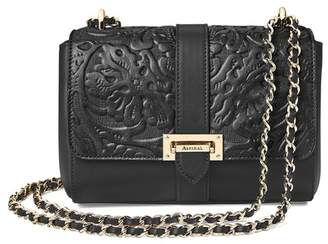 Aspinal of London Small Lottie Bag In Black Embossed Flower