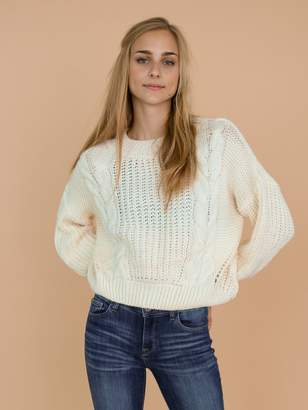 Goodnight Macaroon 'Angela' Cable-Knit Cut-Out Cropped Sweater