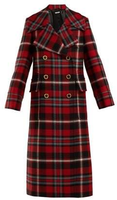 Miu Miu Wool Mohair Tartan Coat - Womens - Red Multi