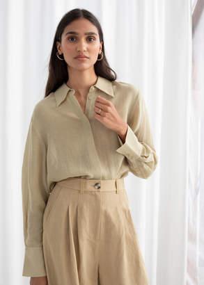 And other stories Linen Blend Button Up Shirt
