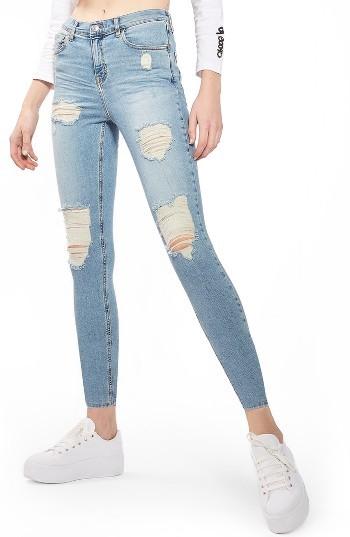 TopshopPetite Women's Topshop Jamie Super Rip Skinny Jeans