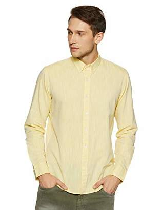 Casual Terrains Men's Tailored Slim-Fit Button-Down Collar Linen Shirt Without Pocket