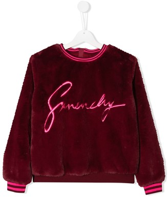 Givenchy Kids TEEN embroidered faux fur sweatshirt