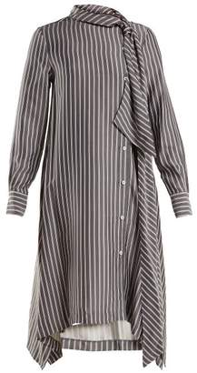 See by Chloe Striped Asymmetric Crepe Midi Dress - Womens - Navy White