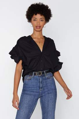 Nasty Gal Put It on Ruffle Ruched Blouse