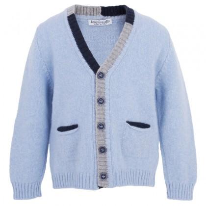 Baby Graziella Light Blue Merino Cardigan