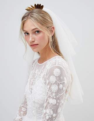 Asos Design DESIGN Bridal Metal Leaf And Crystal Bead Veil