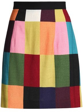 House of Holland Color-Block Brushed Woven Mini Skirt