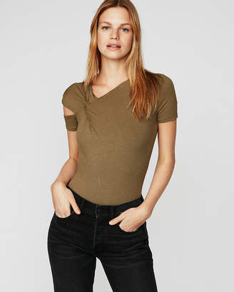 Express One Eleven Ribbed Shoulder Cut-Out Tee