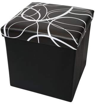 Otto & Ben 15 inch Swirl Design Memory foam Seat Folding Storage Ottoman Bench with Faux Leather, Color available Black or White