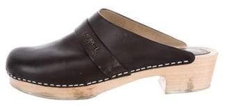 Chanel Logo Leather Clogs