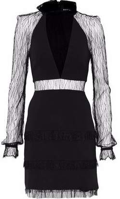 Nicholas Lace-Paneled Crepe Mini Dress