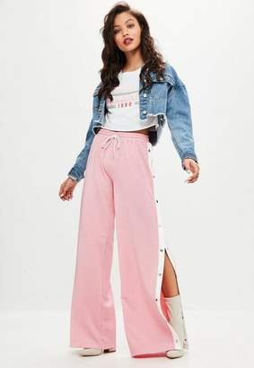 Missguided Pink Popper Wide Leg Joggers