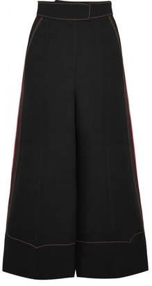 Roksanda Hasani Cropped Silk-trimmed Crepe Wide-leg Pants - Black
