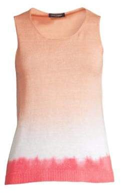 Piazza Sempione Women's Tye Dye Knit Tank Top - Pink Red - Size 40 (4)