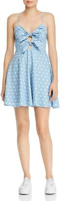 Do & Be Do and Be Do + Be Tie-Front Polka Dot Chambray Dress