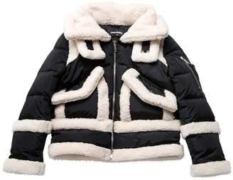 DSQUARED2 Faux Sheraling & Nylon Down Jacket