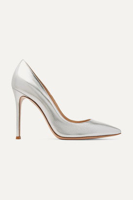 Gianvito Rossi 105 Metallic Leather Pumps - Silver