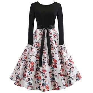 18117a2d5a1 Muranba Dress Muranba Clearance Women Vintage Long Sleeve Printing Party Swing  Dress