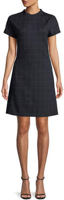 Theory Crewneck Short-Sleeve Windowpane Check Knit Dolman Shift Dress
