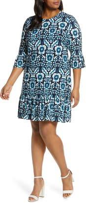 Eliza J Floral Flounce Sleeve Dress