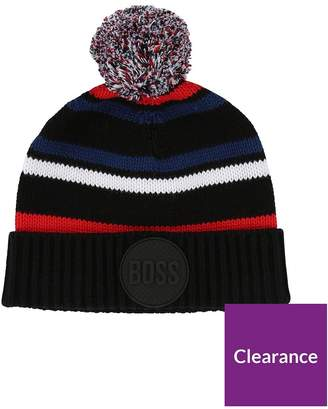 BOSS Younger Boys Striped Bobble Hat - Navy d7082998fbea