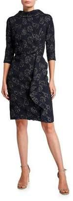 Rickie Freeman For Teri Jon Roll-Neck 3/4-Sleeve Stretch Jacquard Dress with Side Drape