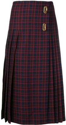 Burberry Arroux check print pleated wool skirt
