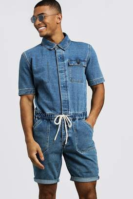 boohoo Short Length Denim Jumpsuit