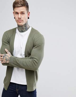 Asos Lightweight Cable Cardigan In Khaki