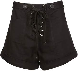 Self-Portrait Self Portrait Lace Up Wide Leg Shorts
