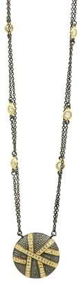 Freida Rothman 14K Yellow Gold & Black Rhodium Plated Pave CZ Disc Pendant Double Strand Necklace