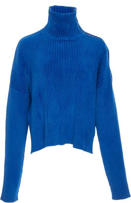 Sally LaPointe Zip-Detailed Brushed Ribbed-Knit Turtleneck Sweater