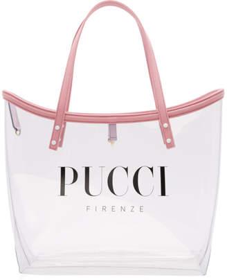 Emilio Pucci (エミリオプッチ) - Emilio Pucci トランスペアレント ピンク ロゴ PVC トート