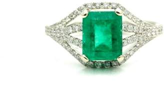 18K White Gold Natural Emerald Diamonds Ring