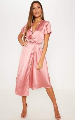 PrettyLittleThing Rose Satin Wrap Midi Dress