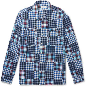 Universal Works Patchwork Checked Cotton-Flannel Overshirt - Men - Blue