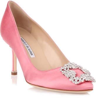 Manolo Blahnik Hangisi 70 pink satin pump
