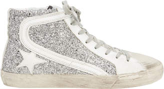 Golden Goose Slide Silver Glitter Hi Top Sneakers
