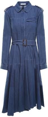 J.W.Anderson Pleated Cotton-denim Belted Midi Dress
