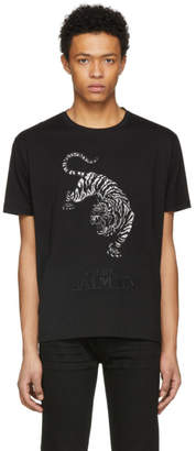 Pierre Balmain Black Embroidered Tiger T-Shirt