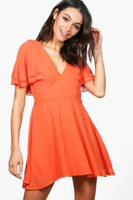 boohoo Melodie Chiffon Frill Sleeve Skater Dress