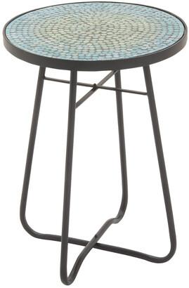 Uma Enterprises Metal & Glass Round Side Table