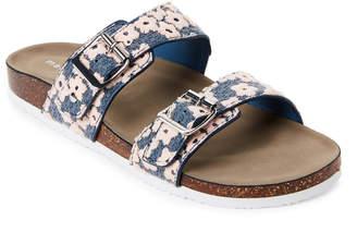 Madden-Girl Denim & Pink Brando Embroidered Footbed Sandals